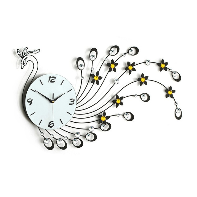 slap-up stylish large modern jewelry peacock shaped oriental wall clock