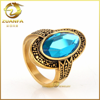 wholesale women jewelry sea blue gems 14k gold plating stainless steel wedding ring