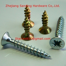 Wholesales Flat head harden zinc plated Chipboard screw,furniture screw