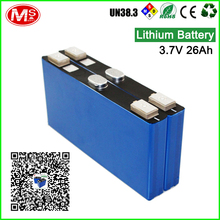 Rechargeable battery li-ion 3.7V 26Ah for solar or electric vehicles