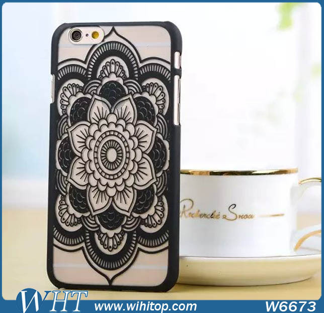 Hot Selling New Products Painted Embossed Flower Case for iPhone 6 Plus