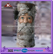resin tree stump shape led pillar light with face