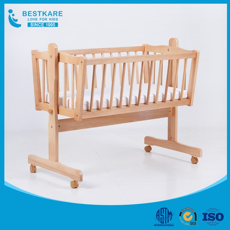 baby swing bed new born wooden crib baby cradle