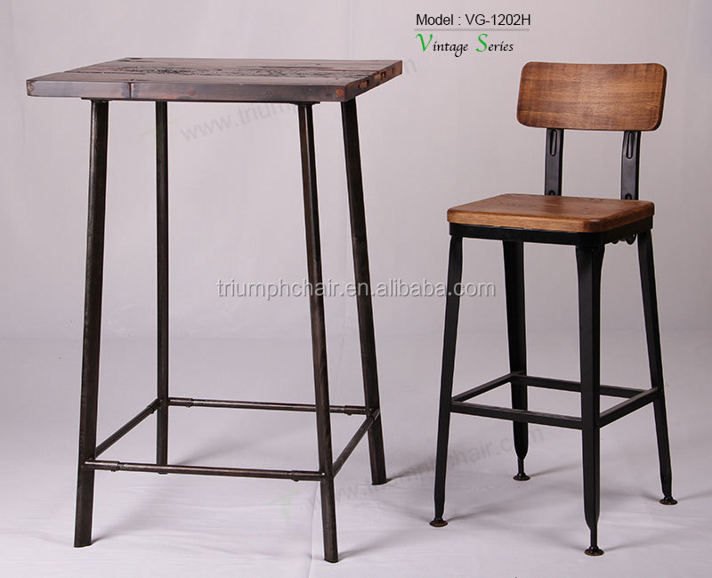 Tolix Bar Stool Wood Seat Tractor Red Antique Weathered