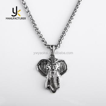 Thailand Man's Mascot Jewelry Customized Stainless Steel Elephant Pendant Necklace
