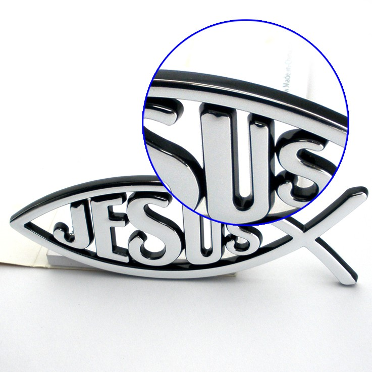 Christian products wholesale custom jesus fish 3d car emblem