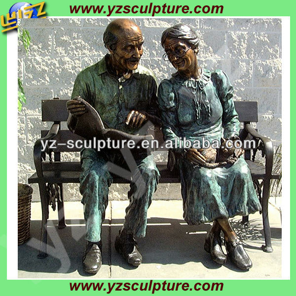 old man and woman garden sculpture for sale