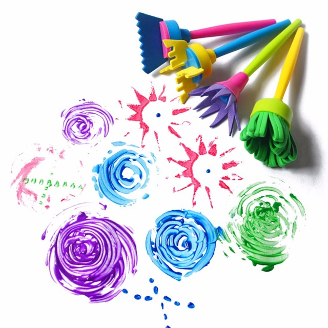 4pcs/set DIY Painting Tools Drawing Toys Flower Stamp Sponge Brush Set Art Supplies For Kids