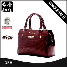 Luxury Trending Patent Leather Metal Label Brand Handbag