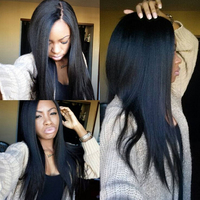 High feedback top quality natural black silky straight wave elastic band brazilian hair glueless full lace wig