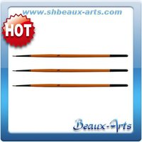 Golden synthetic hair water color brushes/Short, orange lacquered handle with black tip wooden handle round hair brushes