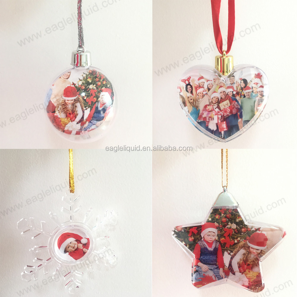 Silver ribbon decorated clear handmade christmas bauble ornament