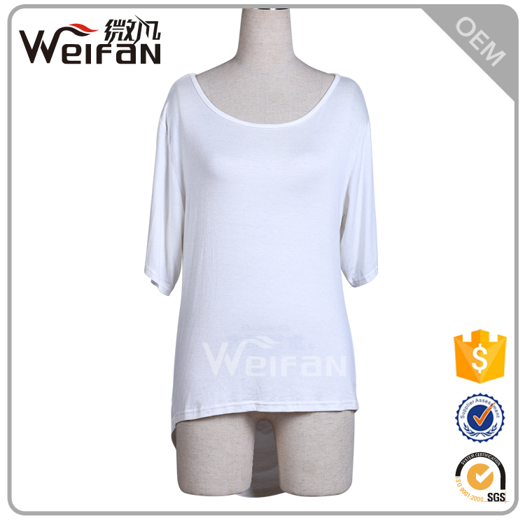 white plain dyed mercerized cotton materials sexy blackless elegant ladies modern blouse