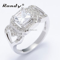 China Jewelry Factory Direct Sale Brass Cubic Zircon Wedding Ring