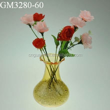 Factory supplier decorative yellow glass blown vase