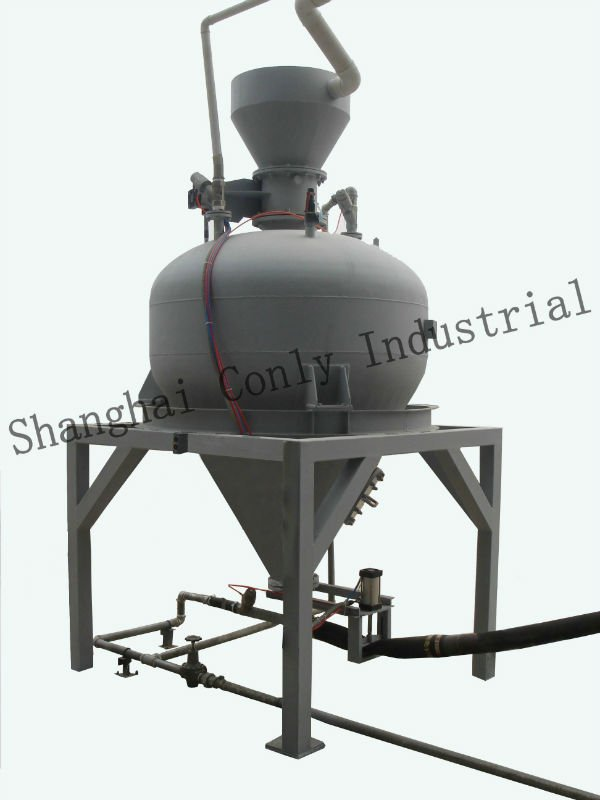 Pneumatic conveying pot with weighing system/ feeding
