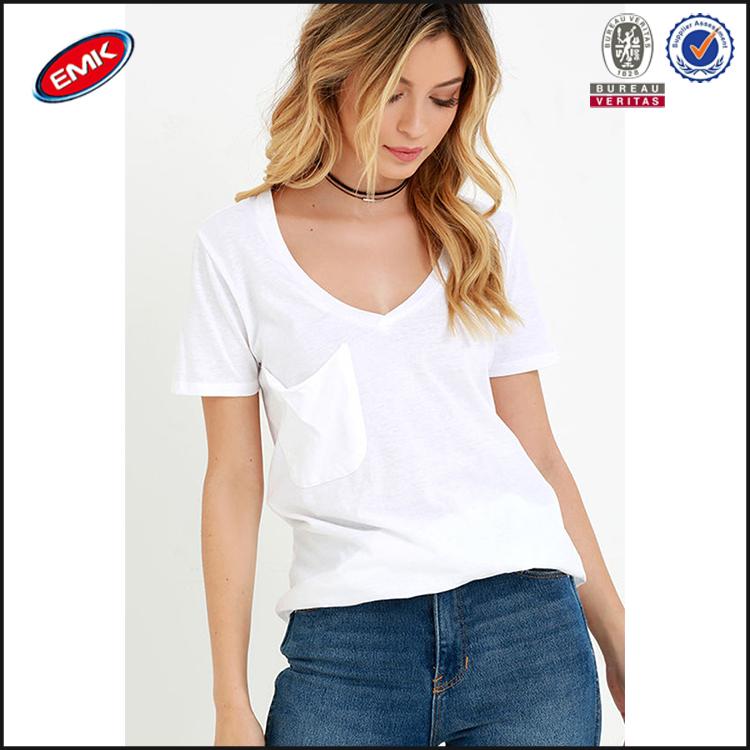High quality loose v neck plain white women t shirts 2016 for Best white t shirt women s v neck