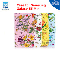 For Samsung Galaxy S5 Mini Butterfly Flower Leather Credit Card Slots Cover Wallet Girl Case