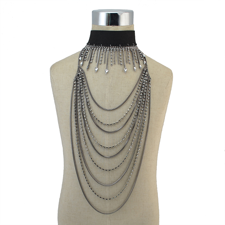 European Style Gun Black Gold Rhinestone Chain Multilayer Jewelry Choker Necklaces