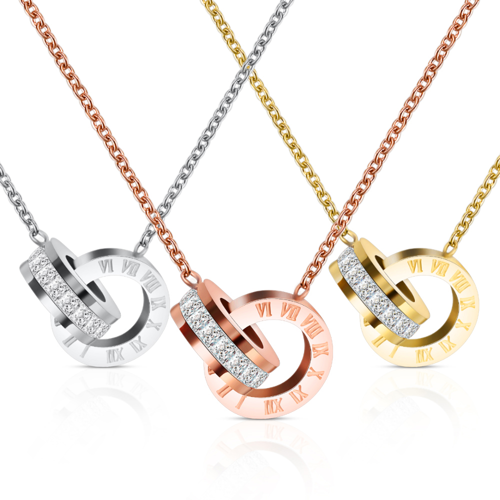 2019 New <strong>Fashion</strong> Rose Gold Plated Stainless Steel Roman Numerals Necklace
