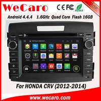 WECARO China Factory HD 1080P Pure Android 4.4.4 Double Din Car Dvd For Honda CRV