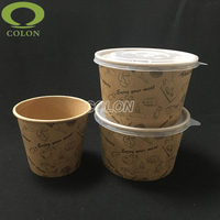 Disposable hot soup kraft paper cups/bowls for take away