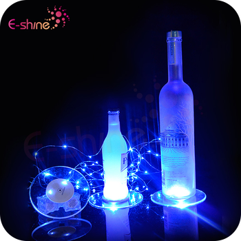 Party Supply Plastic Mini Led Sticker Coaster for Bottle