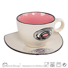 wholesale daily use bi-color with circle ceramic tea cup and saucer