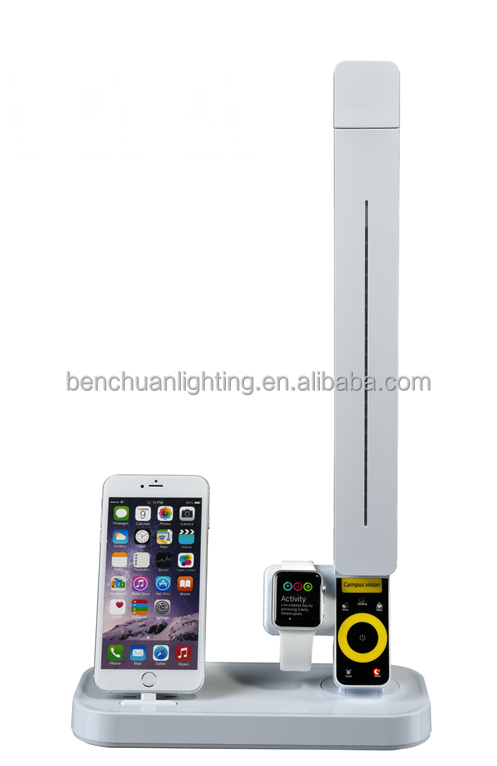 New generation multifunctional iPhone and apple watch charging stepless dimming LED table lamp with USB port and 1 hour timer