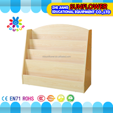 Wooden bookshelf simple construction child learning toys wooden book shelf for kids