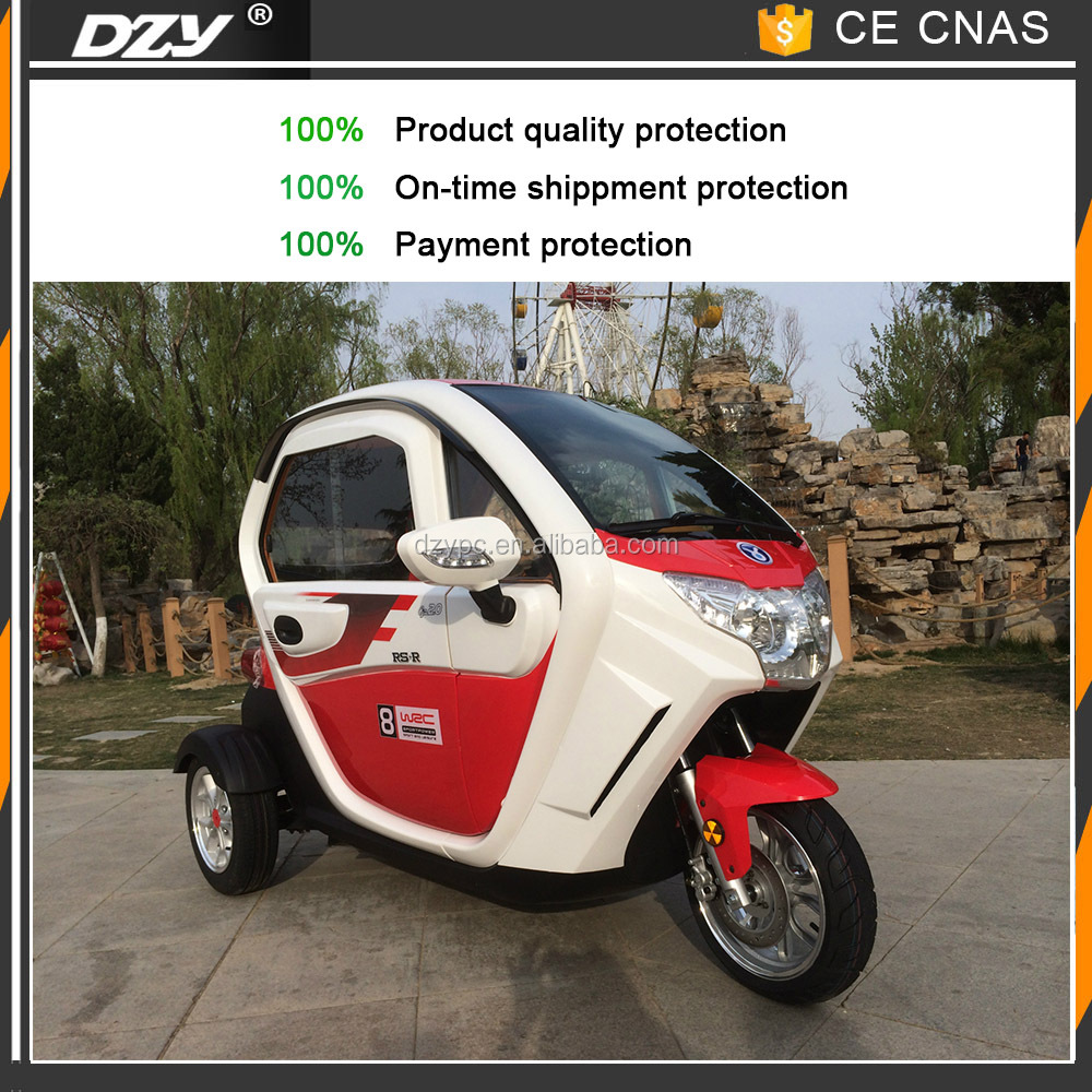 China 2 seats passenger tricycle 3 wheel scooter with cabin enclosed 1000W brushless motor adult electric tricycle