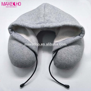 MAXECHO Memory Foam Travel Pillow with Hood U Shaped Neck Support for Car and Airplane Portable, Discrete Comfort for Improv