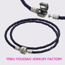 Double Woven Leather and Silver Braided Bracelet Sterling Silver Bracelet