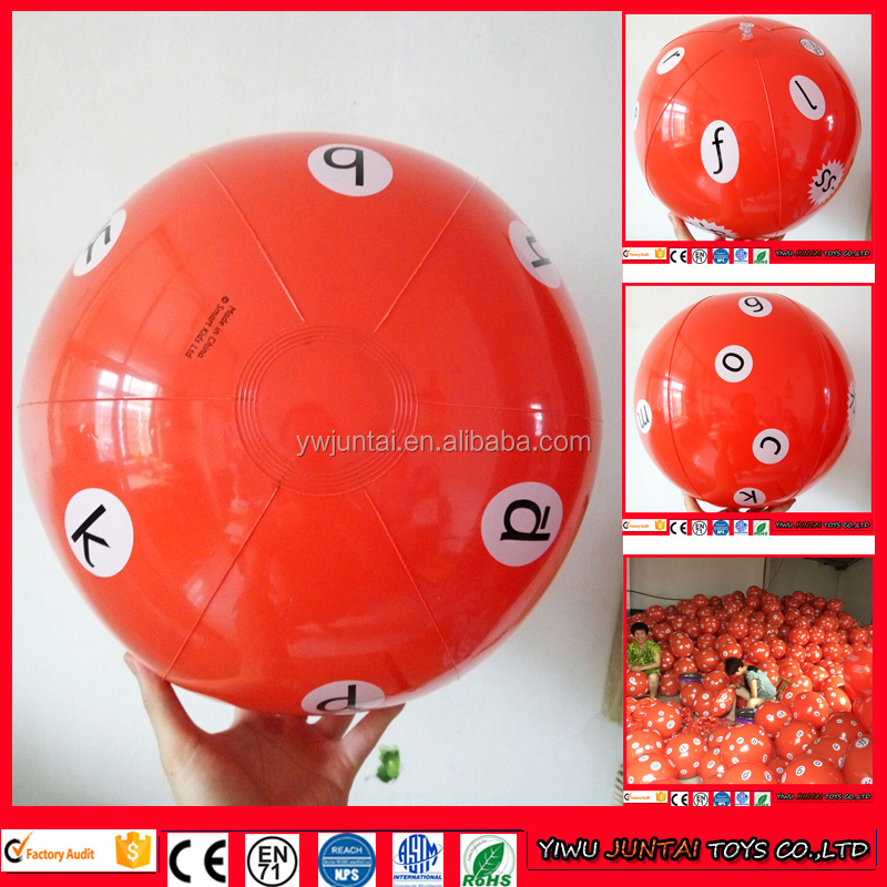 2016 20inch orange color inflatable beach ball with custom logo