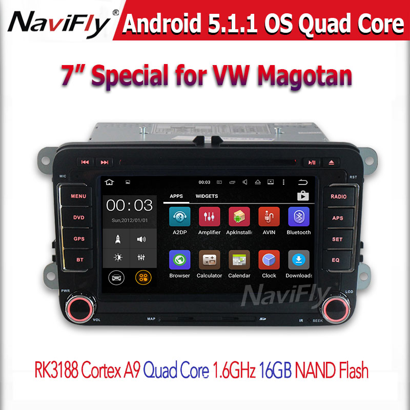 Quad Core 1024*600 Android 5.1.1 Car DVD GPS Navigation Radio For VW GOLF 4 5 Polo Bora CC JETTA PASSAT Tiguan SKODA OCTAVIA
