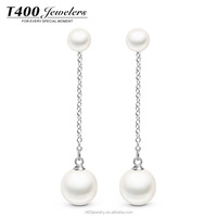 T400 jewelry women's 925 sterling silver stud artificial shell big pearl earring wholesales