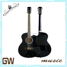 wholesale black 39 inch cheap plywood acoustic electric guitar