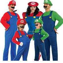 Adult Women Mens Boys Kids Super Mario and Luigi Bros Fancy Dress Costumes QAWC-3171