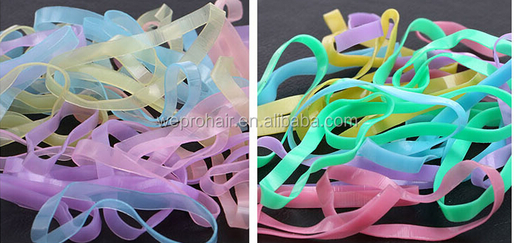 Strong Small Colored Transparent Clear Hair Rubbers Elastic Bands