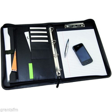 Executive Black A4 Conference Folder PU Leather Zipped Portfolio 4 Ring Binder with Clip