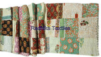 Hand Block Printed Old Patchwork Kantha Gudri Cotton Fabric Throw Handmade Bedspread Textile Wholesaler RTAH-1 Jaipur