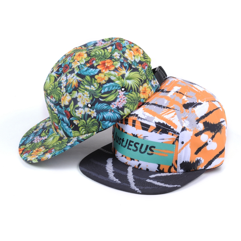 print 5 panel fitted cap/floral print 5panel cap/5 panel caps custom