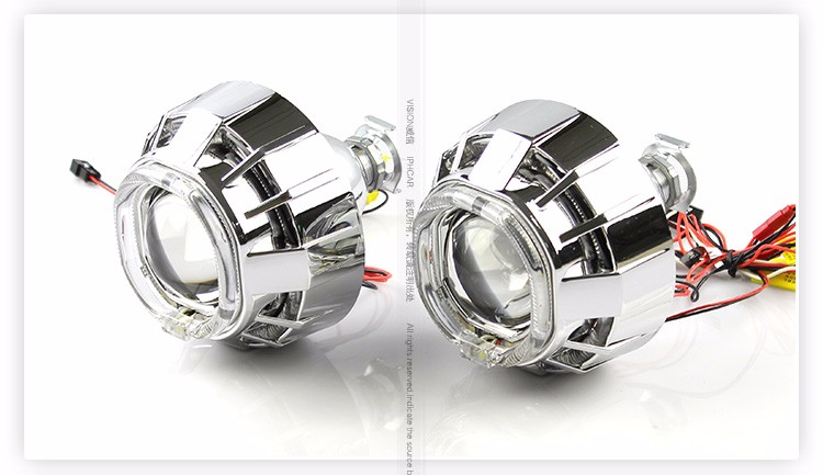 Car parts accessories square headlight hid xenon bulbs headlight projector lens with super brightness light guide angel eyes