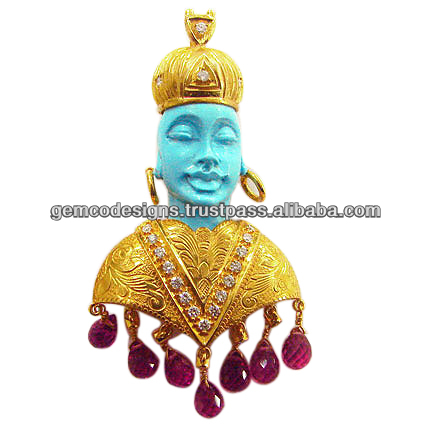 carved gold turquoise gemstone Victorian diamond pendant, ruby gemstone drop designer handmade wholesale designer pendant