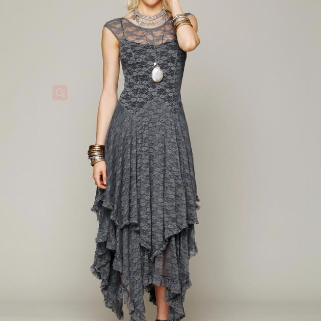 hot style 2018 women cap sleeve boho summer dresses asymmetrical hem vintage maxi lace dress
