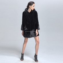 Fashion Design Women Hooded Genuine Mink Fur Coat