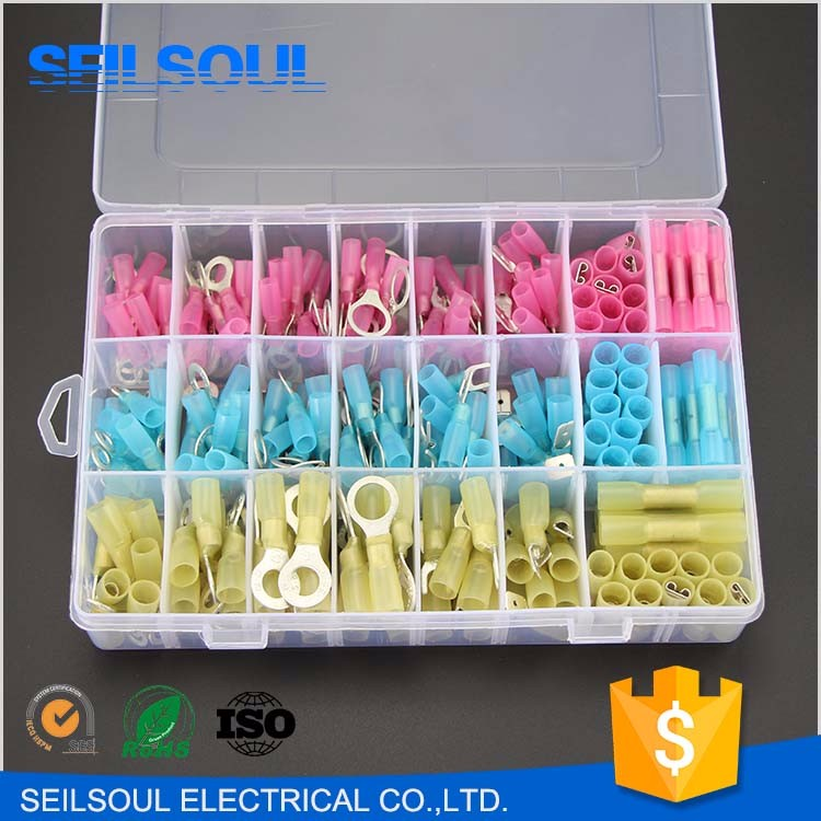 250Pcs Insulated Heat Shrink Wire Connectors Electrical Crimp Terminal Kit Terminal