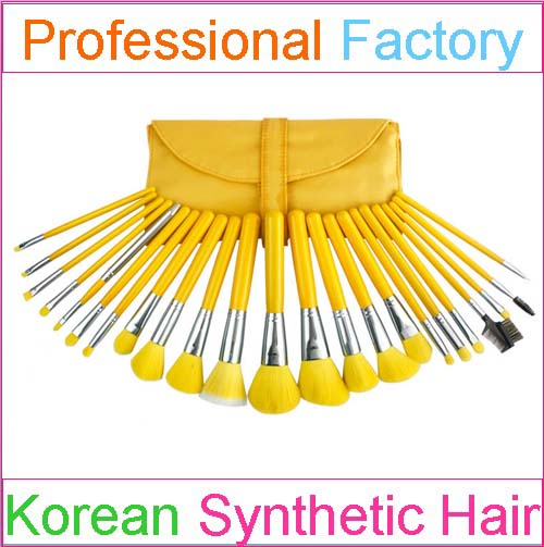 Fay Brush Factory make up kit 23 pieces yellow makeup brush set yellow cosmetic brush set high synthetic hair