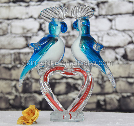 bird shape for crafts,animal parrot shape glass ornament,Lovely Colored Glass Chinese Animals Figurine