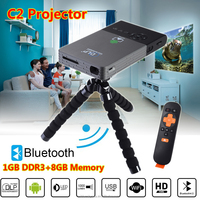 C2 DLP Mini Projector WIFI HDMI 1080P Android 4.4 1GB+8GB Home Cinema LED Light